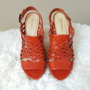 Enzo Angiolini Burnt Orange Wedge Sandals